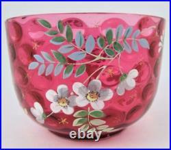 Antique CRANBERRY art glass IVT finger bowl Hand Painted ENAMEL Flowers