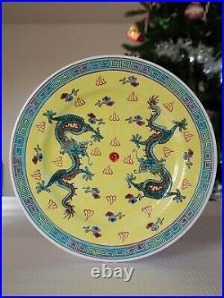 Antique Chinese Colour enamels porcelain plates painted dragon artwork decor