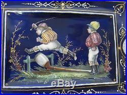 Antique Cobalt Blue H/painted Enamel On Copper Equestrian Jockeys Jumping Fence