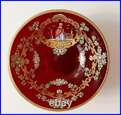 Antique Cranberry Red Gilt & Enamel Decorated Art Glass Compote Hand Painted