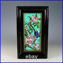Antique Enamel ART G. Denechaud Cognac Bird and flowers