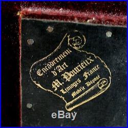 Antique Enamel Limoges Plaque The Love Letter Signed