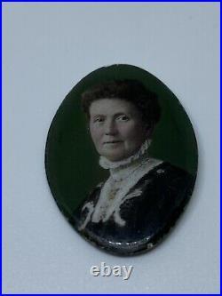 Antique Enamel Miniature Oval Portrait Plaques