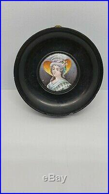 Antique Enamel Miniature Portrait of a Lady in a Wood Frame