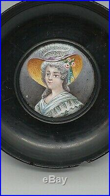 Antique Enamel Miniature Portrait of a Lady in a Wood Frame