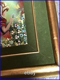 Antique Enamel On Copper Original Art By Jack Prager Inc. Of Girl RARE