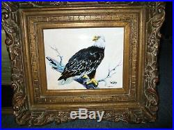 Antique Enamel Painting On Copper By Watts- American Bold Eagle The Rockies