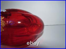 Antique Enameled Hand Painted French Mont Joye Legras Red Art Glass Vase 904