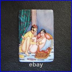 Antique Erotic Harem Enamel Kama Sutra Mughal Indo Middle Eastern