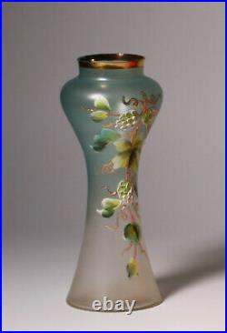 Antique European Art Nouveau Austrian Satin Glass Vase-Enameled Flower Painting