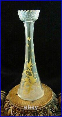 Antique French Bohemian Diamond Cut & Hand Painted Enamel Gold Art Glass Vase