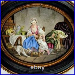 Antique French Enamel Miniature Portrait Family Scene, Dog, Bronze & Wood Frame