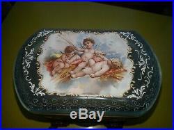 Antique French Enamel Painted Art Glass Cherub Sugar Casket or Jewelry Box