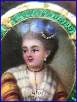 Antique French Georgian 18Th-Century Enamel Portrait Miniature Circa 1780