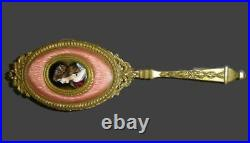 Antique French Jeweled Guilloche Enamel And Signed Miniature Lady Portrait Brush