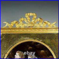 Antique French Limoges Enamel Miniature Portrait Plaque Gilt Bronze Frame