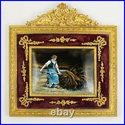 Antique French Limoges Enamel Miniature Portrait Plaque Gilt Bronze Ormolu Frame