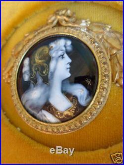 Antique French Limoges Sgd Enamel Copper Miniature Portrait Painting Plaque