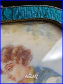 Antique French Miniature Painting Couple Man Woman 19th c. 1800's Enamel Frame
