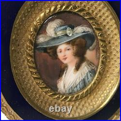 Antique French Miniature Portrait Painting of Lady in Enameled Bronze Frame