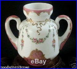 Antique French Rococo Opaline Hand Painted Enamel Floral Hyacinth Art Glass Vase