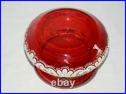 Antique Gorgeouse Hand Painted Enamel Moser Cranberry Art Glass Trinket Box