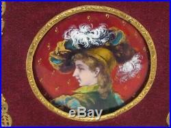Antique Hand Painted French Enamel On Copper Female Miniature Portrait 1900