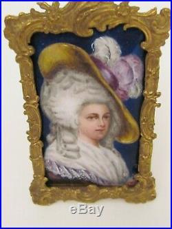 Antique Hand Painted French Enamel On Copper Female Miniature Portrait 1900 Sgnd