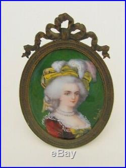 Antique Hand Painted Marie Antoinette French Enamel Portrait Signed 1900