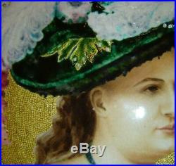 Antique Huge Porcelain Hand Painted Enamel Lady Portrait Painting Charger Tray