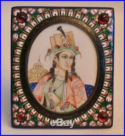 Antique India 19th Century Silver and Enamel Portrait in Frame