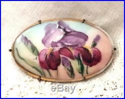 Antique Iris Flower Hand Painted Porcelain Enamel Art Nouveau Pin Vtg