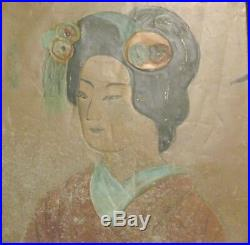 Antique Japanese Portrait Enamel on copper Framed Painting Relief over 100 years