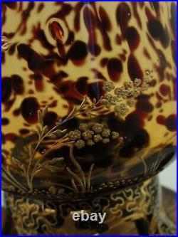 Antique Josephinenhütte F. Phol Tortoiseshell Hand Painted Enamel Art Glass Vase