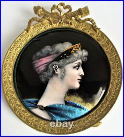 Antique LIMOGES Portrait WOMAN Enamel Copper PAINTED Plaque FRENCH France FRAME