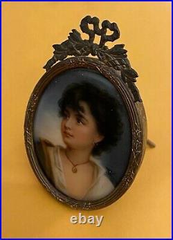 Antique Miniature Enamel Painted Portrait on Porcelain Signed Wagner