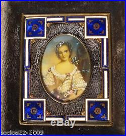 Antique Miniature Portrait Beautiful Lady in Bronze and Enamel Frame
