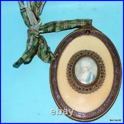 Antique Miniature Portrait Of A Lady With Mirror On Other Side Enamelled Ormolu
