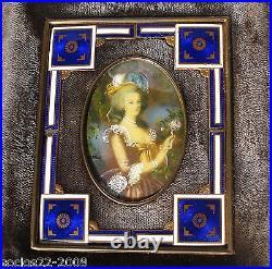 Antique Miniature Portrait bronze enamel signed