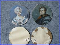 Antique Miniature Portraits PAIR 1800s Hand Ptd Framed French School signed