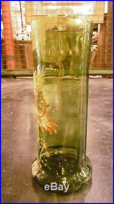 Antique Mont Joye french hand painted enamel art glass vase