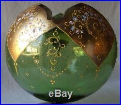 Antique Moser Bohemian Hand Painted Gold Enamel Art Glass Ivy Pedistal Bowl 7+
