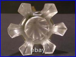 Antique NASH Art Deco H-PAINTED Stained Enamel Cut Glass Flower Bud Spill Vase