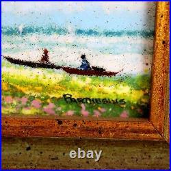 Antique Original Charles Parthesius Enamel On Copper Painting Picnic At Sea