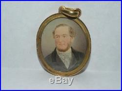 Antique Portrait Miniature Gentleman In 18k Gold Frame With Enamel Pendant