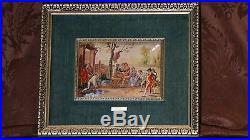 Antique R. Bayeu Enamel Painting On Coppercort Yard In 18c Nobles Play