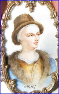 Antique Signed BIZET Enamel on Porcelain Miniature of Young Louis XVI