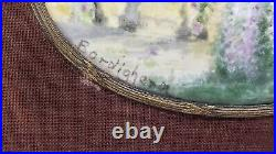 Antique Signed Miniature Painting, Enamel on Copper with Bronze Frame