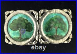 Antique Silver Arts & Crafts Painted Enamel Buckle Possibly By Liberty or Dawson