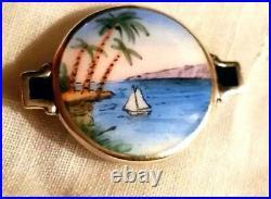 Antique Sterling Silver Enamel Hand Painted Boat Landscape Scene Art Deco Brooch